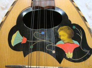 Antique Neapolitan Mandolin Before, notice the cracks