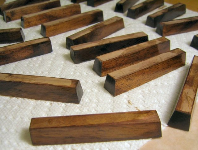 Walnut Sharps with first coat of filler