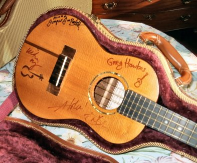 'Ukulele #3 Signed by Jake Shimabukuro, Victoria Vox, Jim Beloff, Greg Hawkes