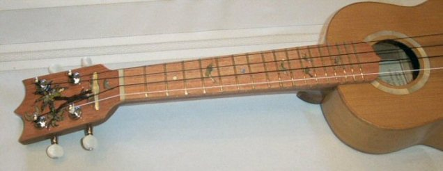 Headstock and fingerboard showing inlay