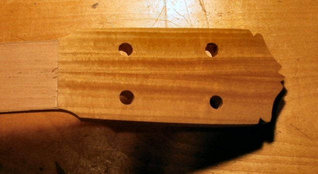 Shaped headstock with Naptha to show color