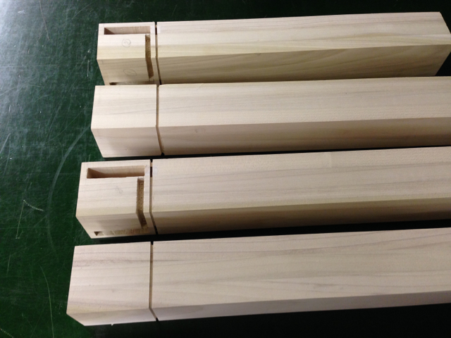 Leg Blanks mortised and ready for turning