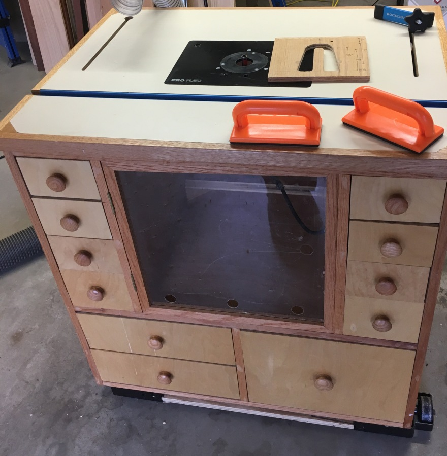 Router table used for machining jigs.