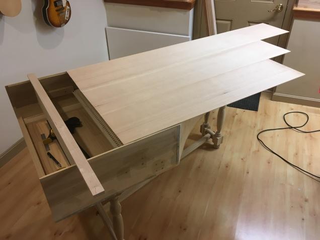 Three joined soundboard planks