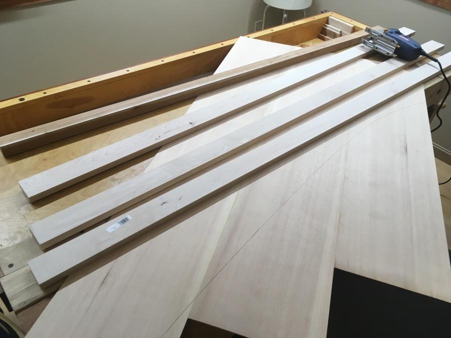 Preparing to trim the soundboard