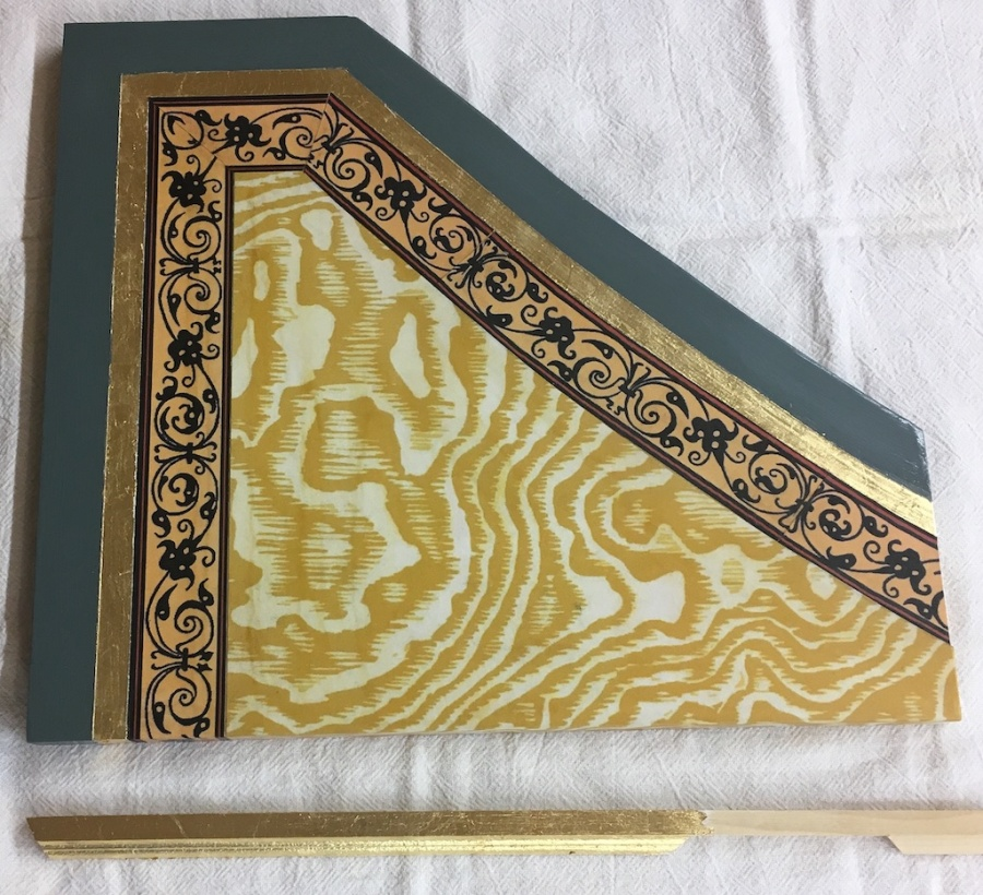 Paint, 'faux' Gold band, Harpsichord papers